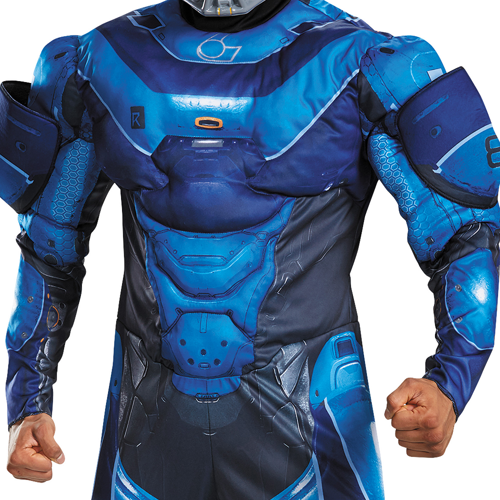 Adult Blue Spartan Muscle Costume Plus Size - Halo Image #3
