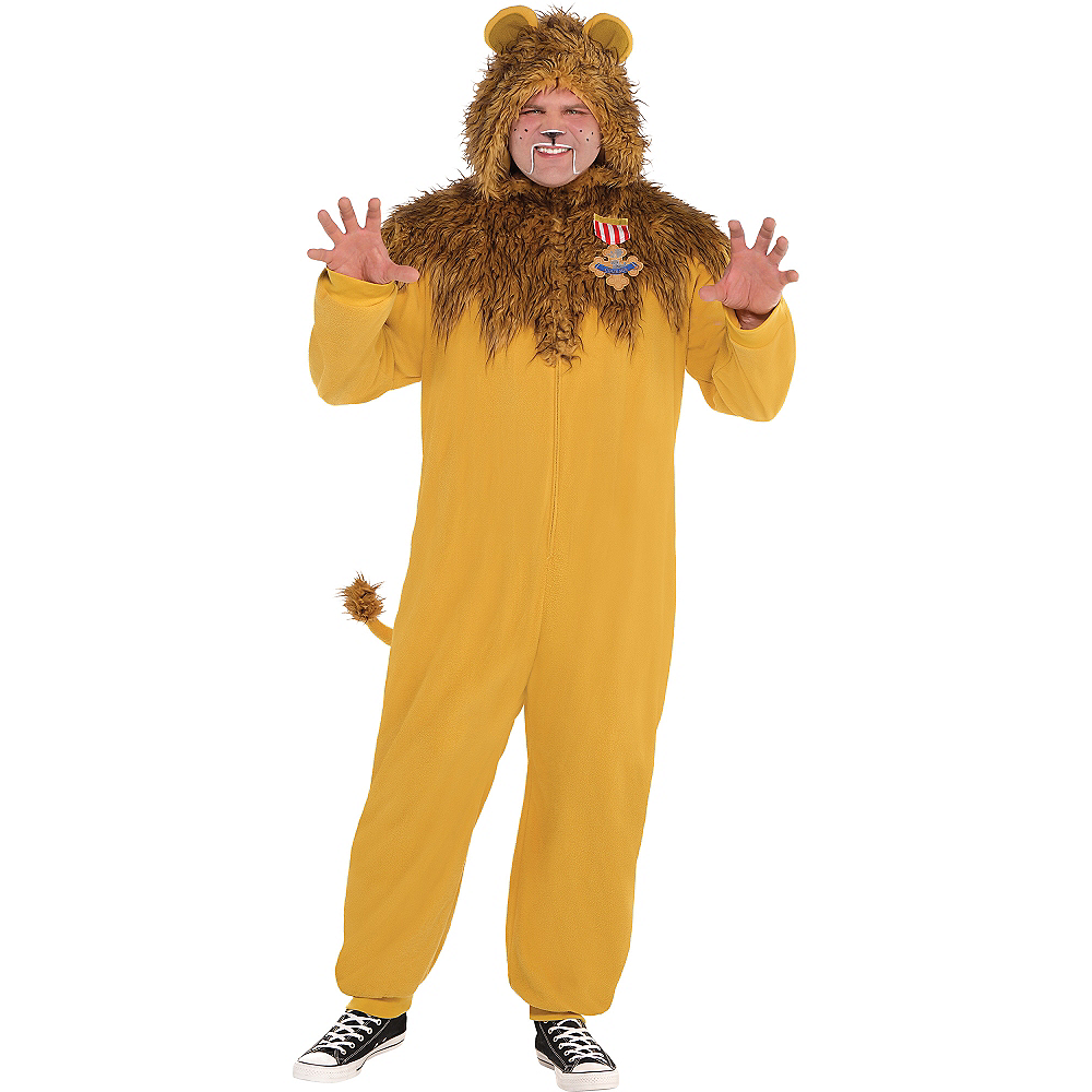 Adult Zipster Cowardly Lion One Piece Costume Plus Size - The Wizard of Oz Image #1