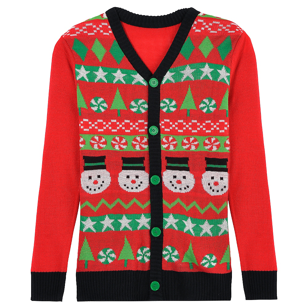 Red Snowman Ugly Christmas Sweater Cardigan | Party City
