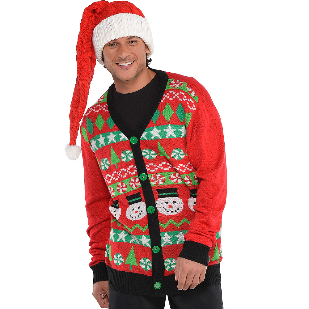 nav item for red snowman ugly christmas sweater cardigan image 2 - Red Ugly Christmas Sweater