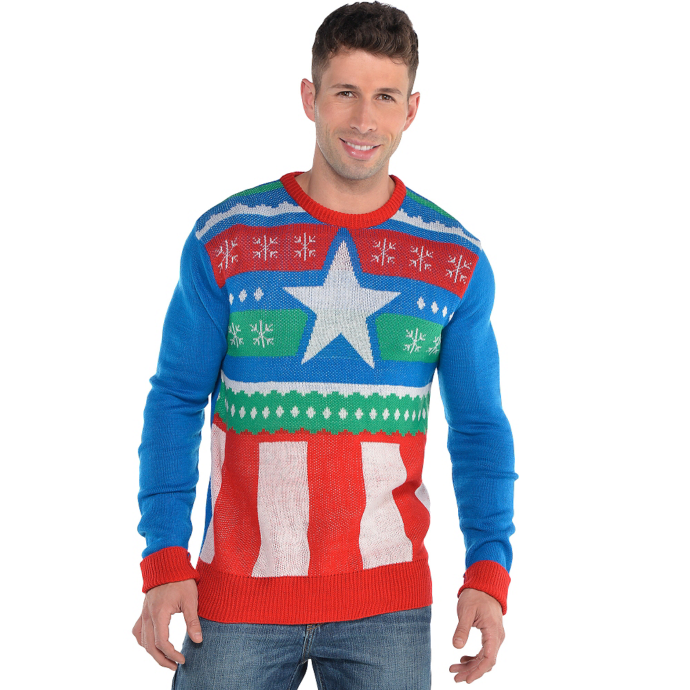 Ugly Christmas Sweaters.Captain America Ugly Christmas Sweater