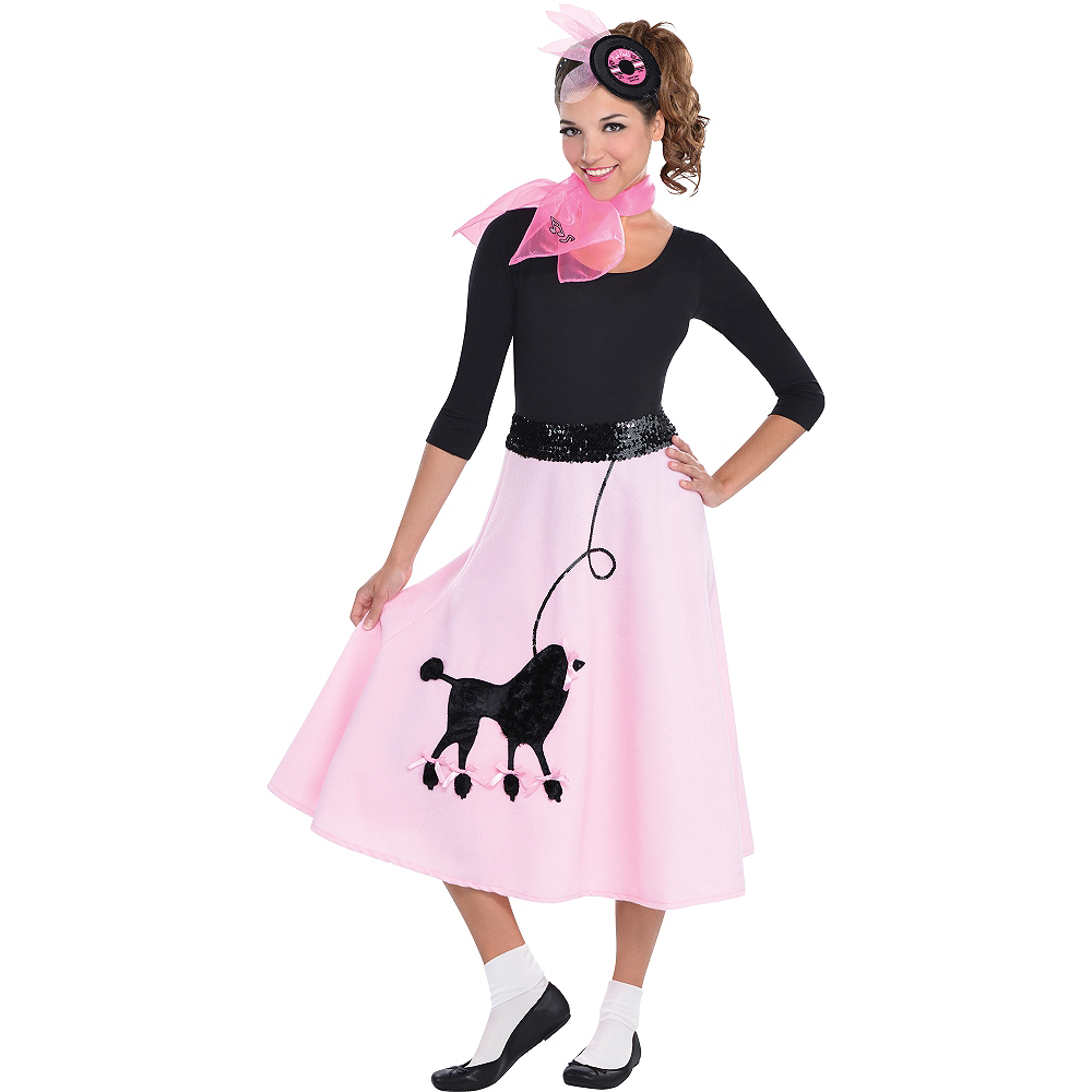 Nav Item for Adult Poodle Skirt Costume Deluxe Image #1