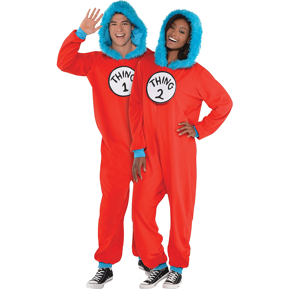 Adult Thing 1 Thing 2 One Piece Costume Dr Seuss Party City