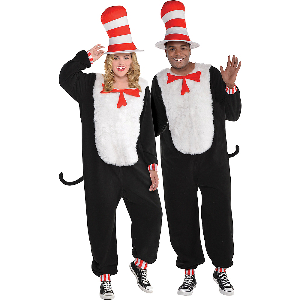 Adult Cat In The Hat One Piece Costume Dr Seuss Party City