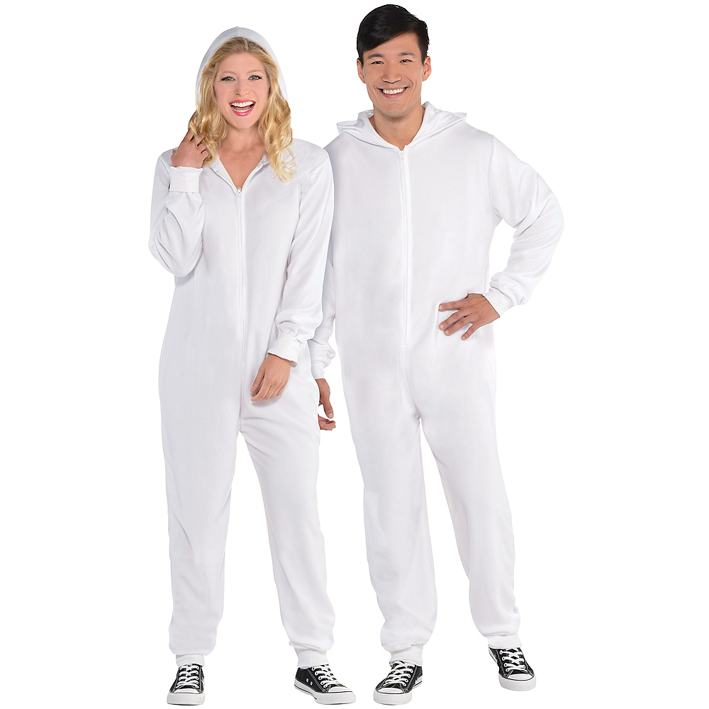 Adult Zipster White One Piece Costume Image #1