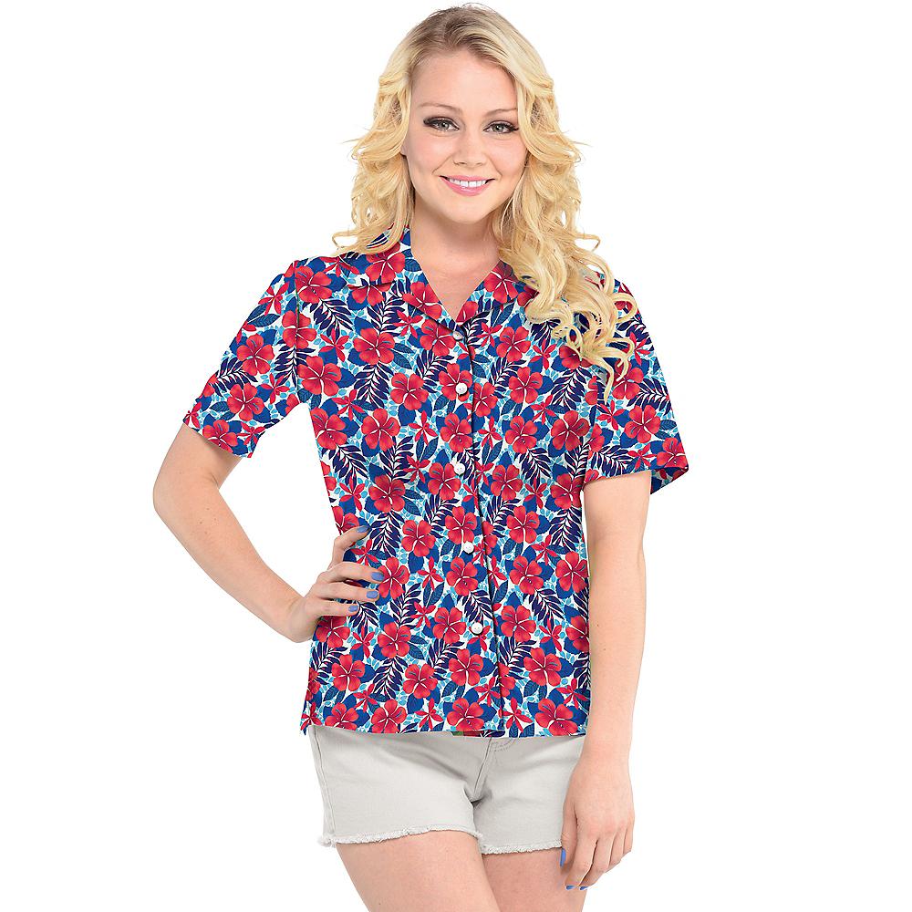 Womens Red, White & Blue Hibiscus Hawaiian Shirt Image #2
