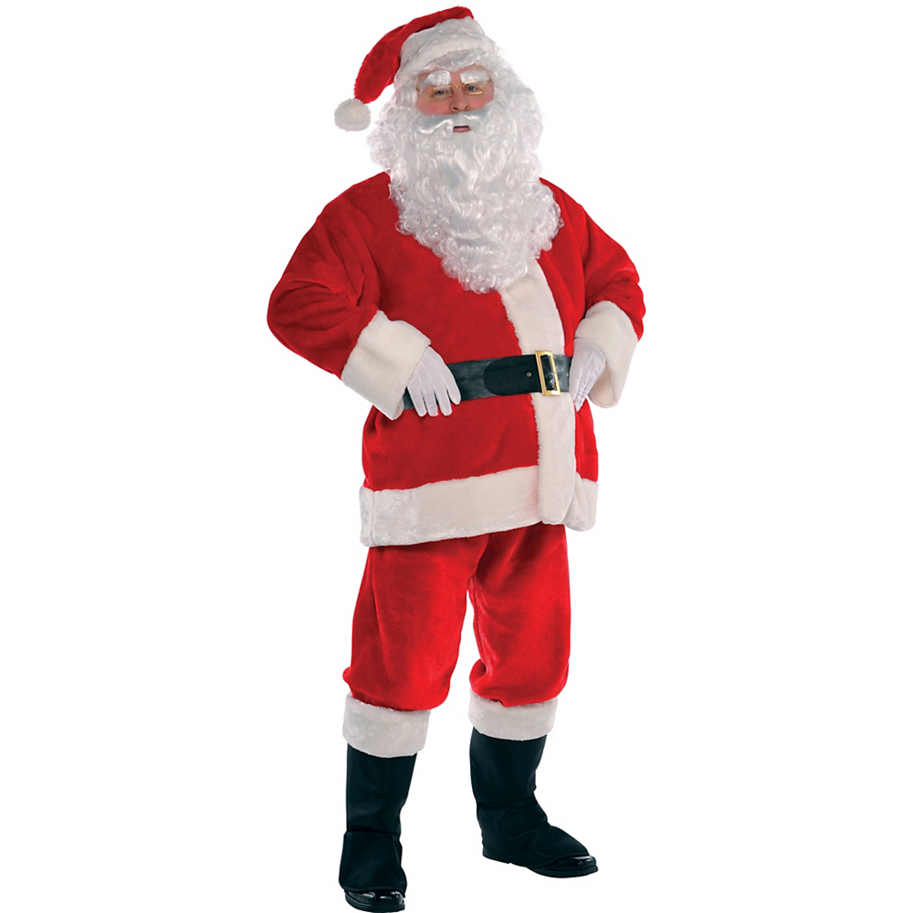 Adult Plush Red Santa Suit Costume Kit Image #2