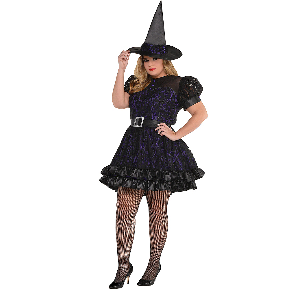 Adult Black Magic Witch Costume Plus Size Image #1