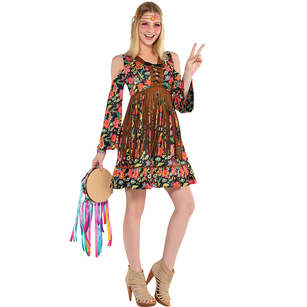 Adult Flower Power Hippie Costume Image #1