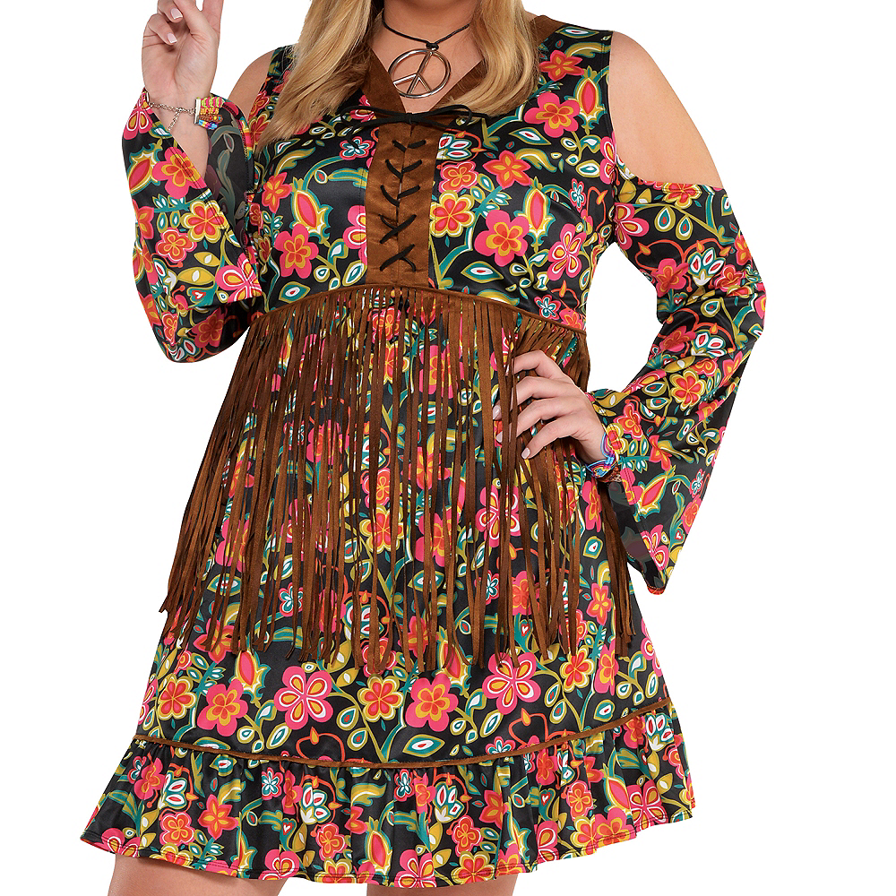 Adult Flower Power Hippie Costume Plus Size Image #2