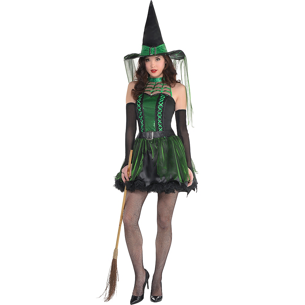 Adult Spell Caster Black & Green Witch Costume Image #1