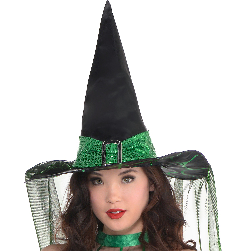 Adult Spell Caster Black & Green Witch Costume Image #2