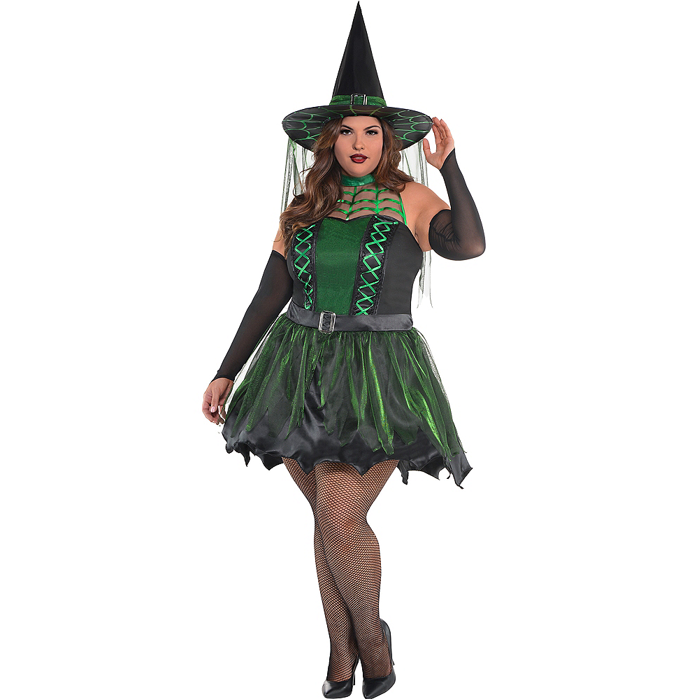 Adult Spell Caster Black & Green Witch Costume Plus Size Image #1
