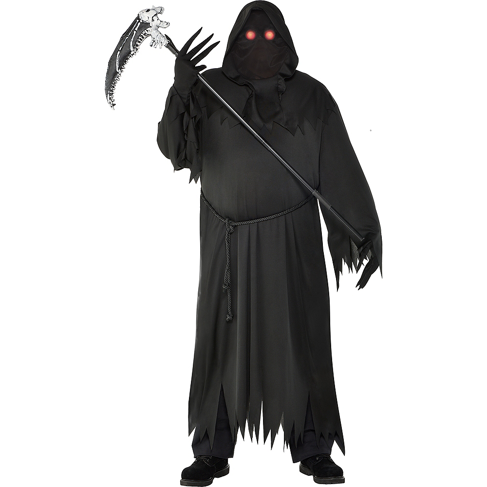 Mens Light-Up Glaring Grim Reaper Costume Plus Size Image #1
