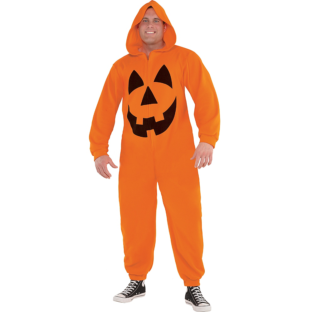 Adult Zipster Jack-o'-Lantern One Piece Costume Plus Size Image #1