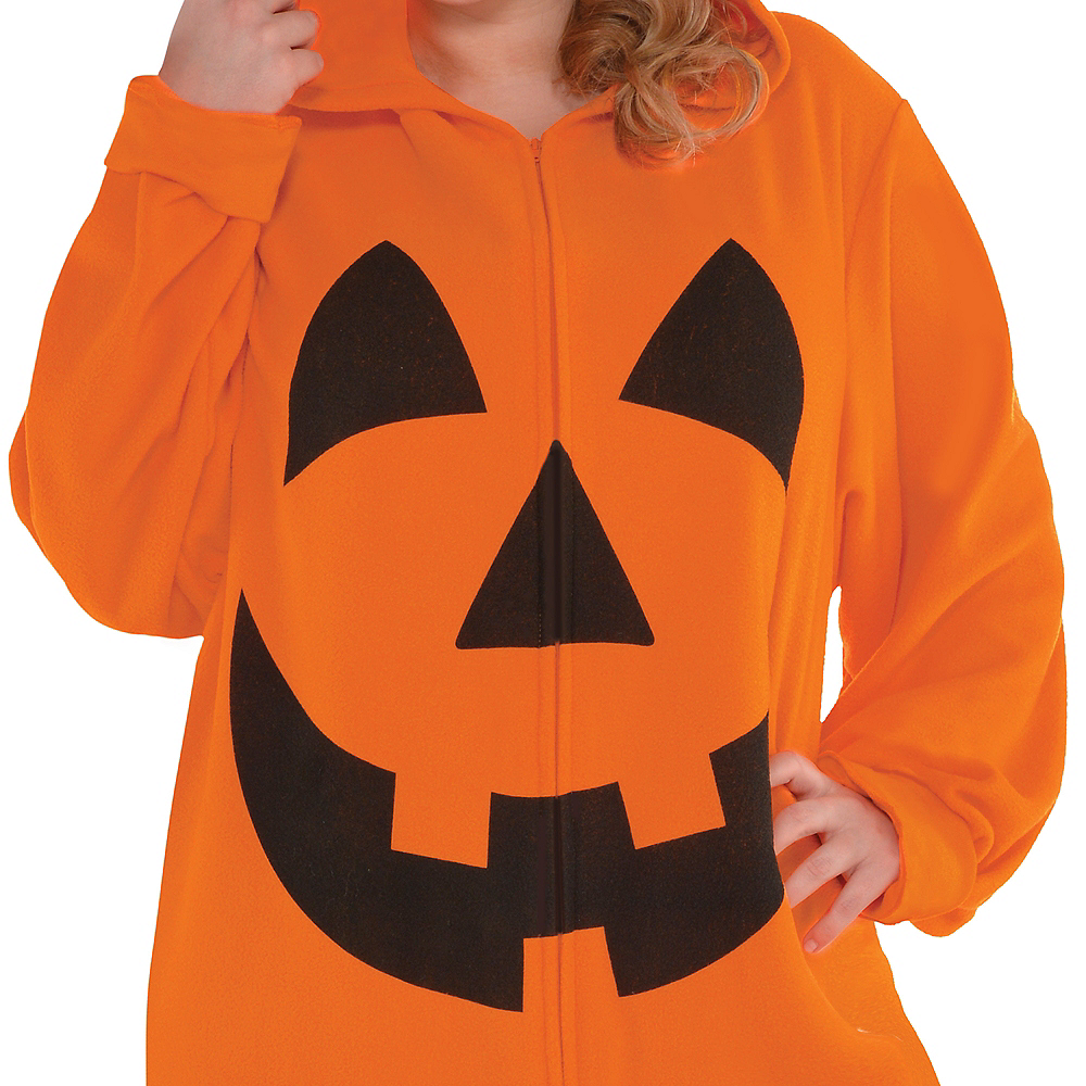 Adult Zipster Jack-o'-Lantern One Piece Costume Plus Size Image #2