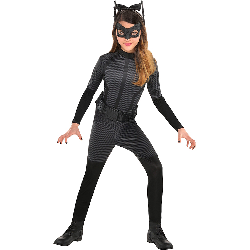 Batman And Catwoman Halloween Costumes.Girls Black Catwoman Costume The Dark Knight Rises Batman