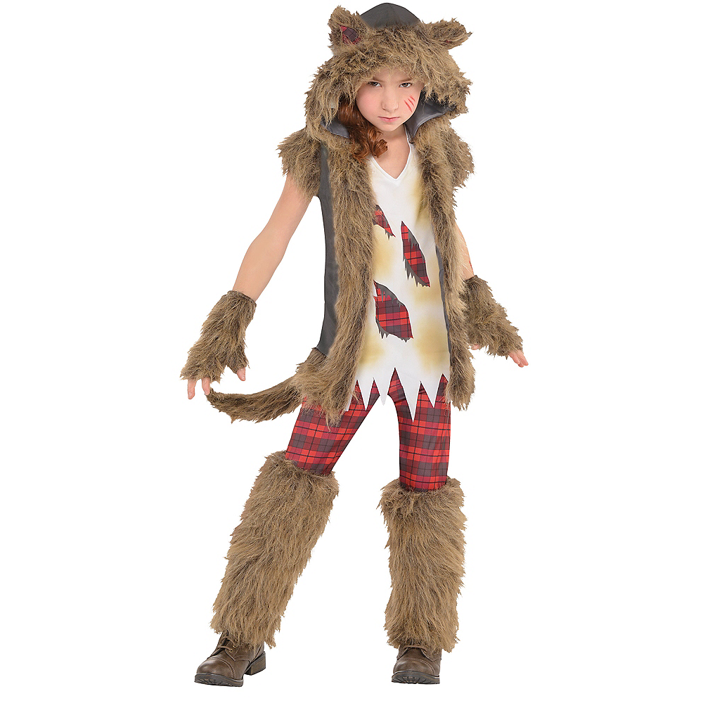 Girls Brown Werewolf Costume Image #1