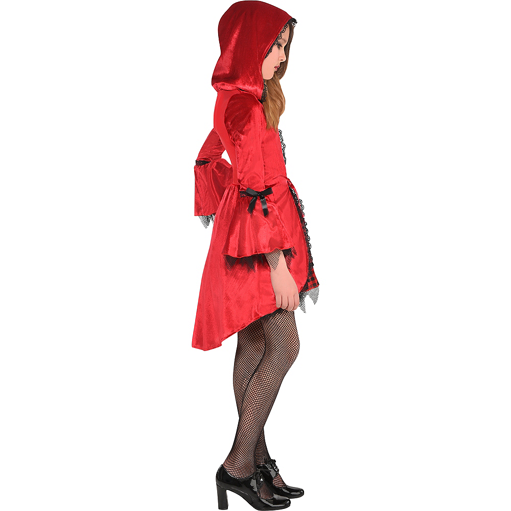 Girls Gothic Red Riding Hood Costume Image #2