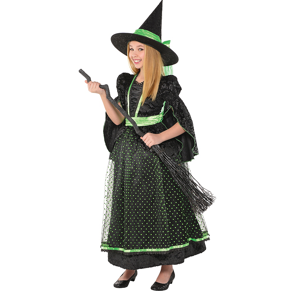 Girls Fancy Black & Green Witch Costume Image #1