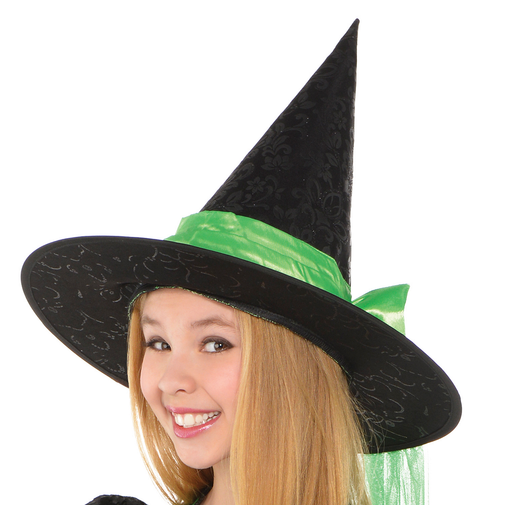 Girls Fancy Black & Green Witch Costume Image #2