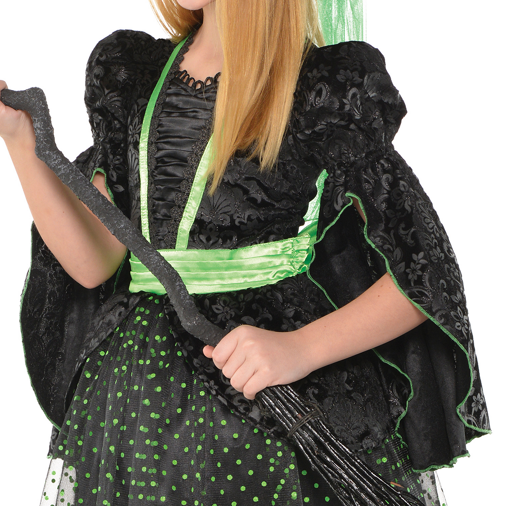 Girls Fancy Black & Green Witch Costume Image #3