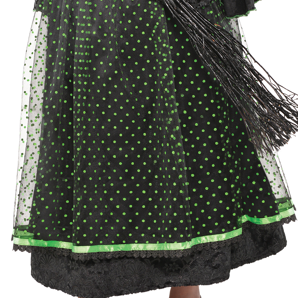 Girls Fancy Black & Green Witch Costume Image #4