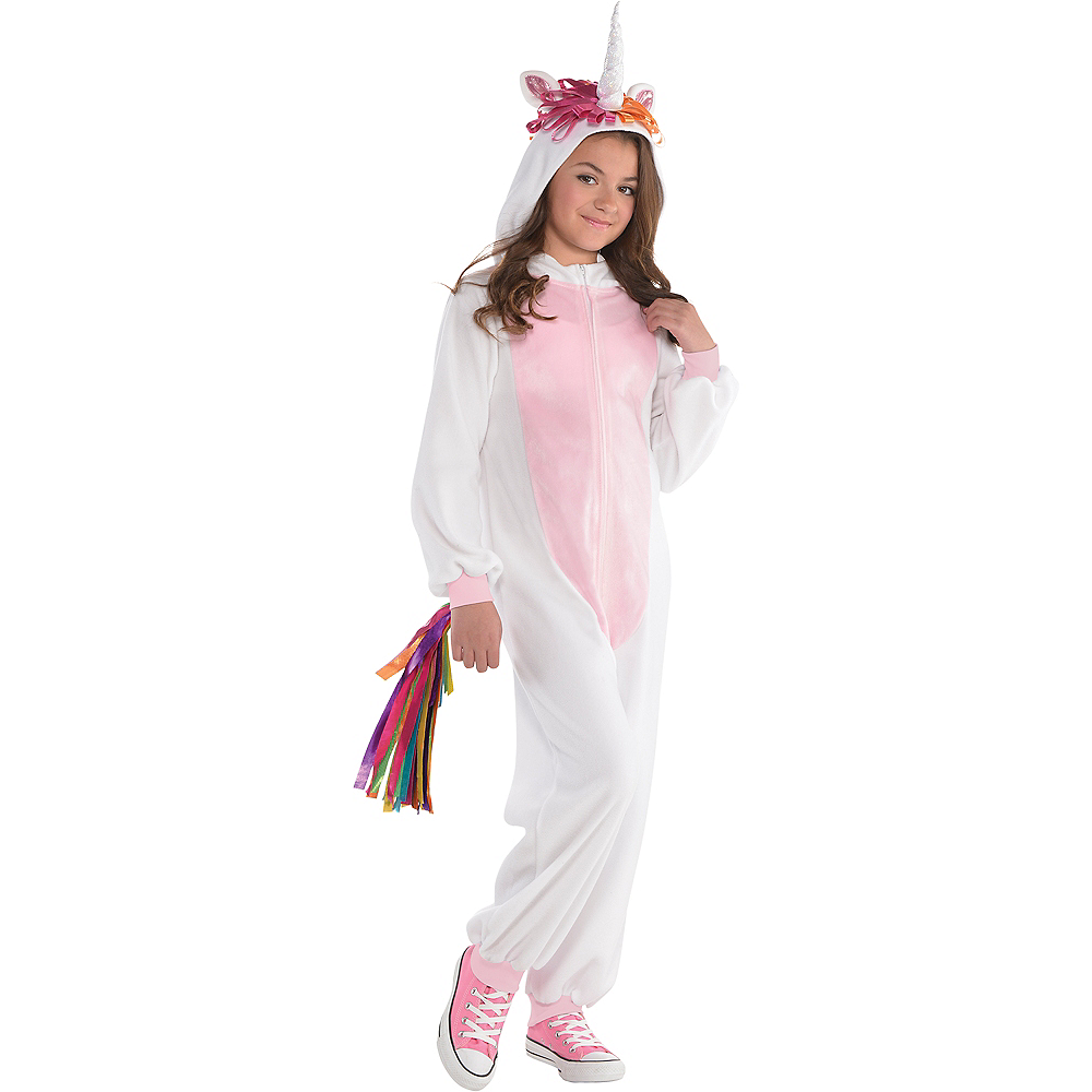 Girls Zipster Unicorn One Piece Costume Image #1