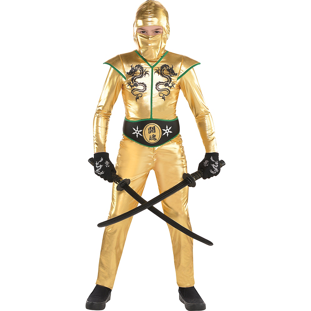 Boys Gold Fighter Ninja Costume Image #1