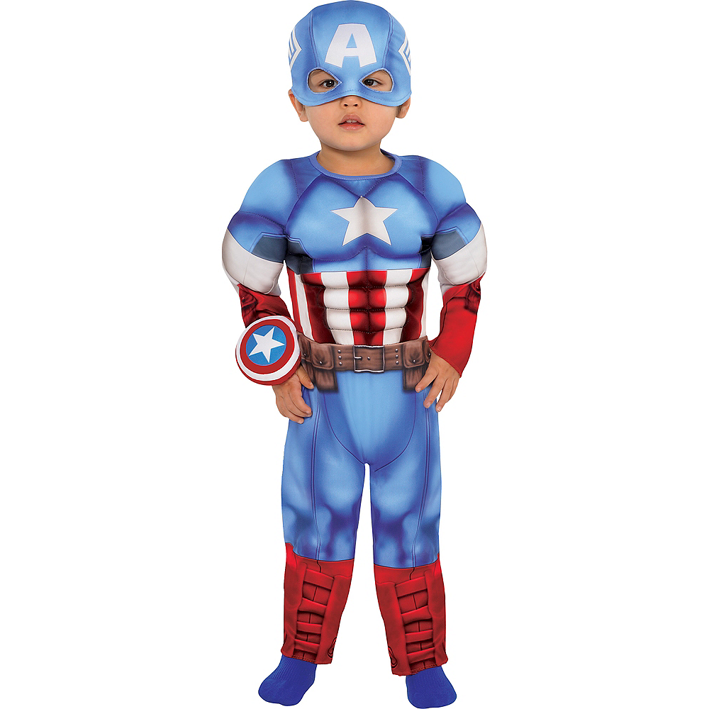 Nav Item for Baby Captain America Muscle Costume Image #1