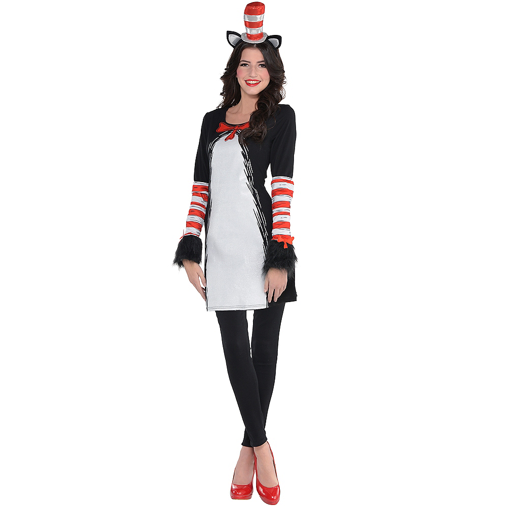 Adult Cat in the Hat Dress Costume - Dr. Seuss Image #1