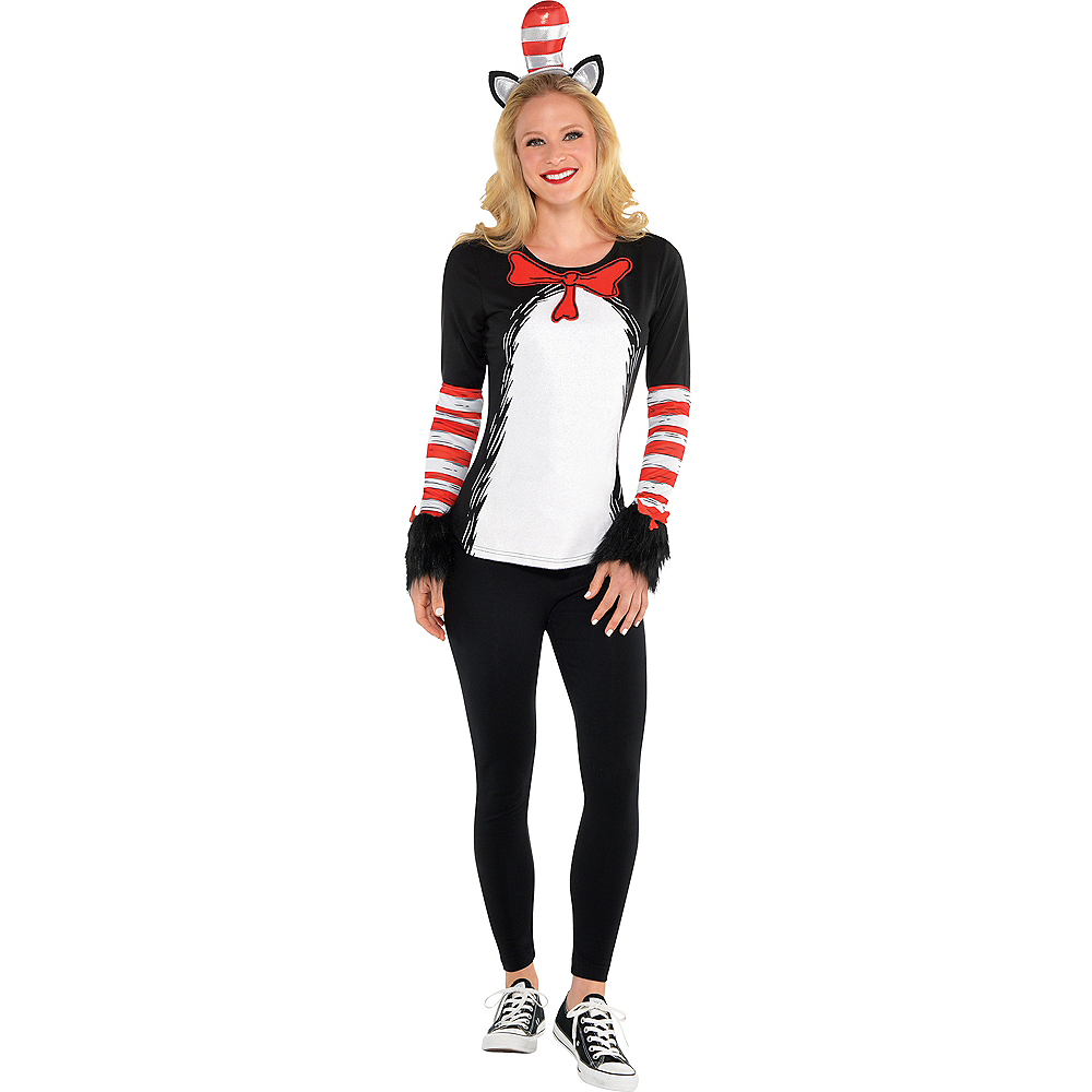 Adult Cat in the Hat Long-Sleeve Costume - Dr. Seuss Image #1