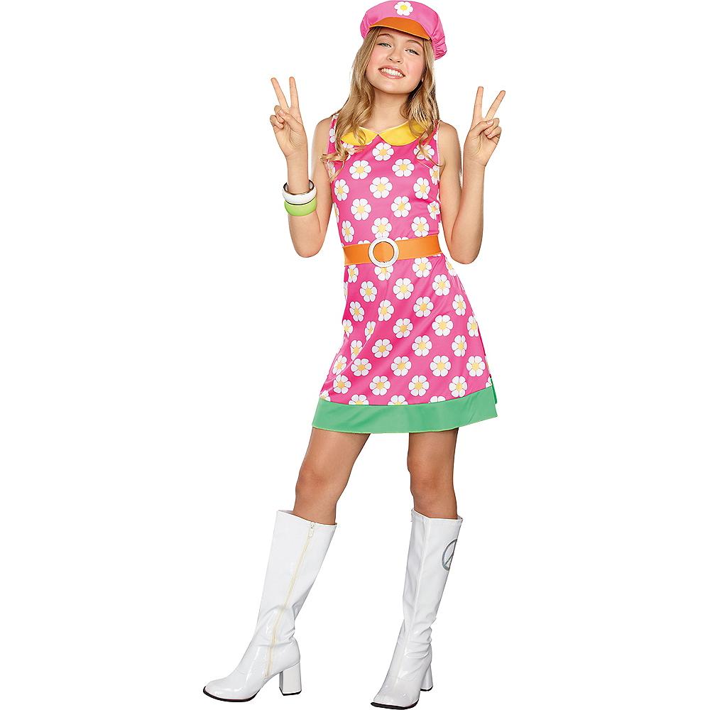 Girls Girly A Go-Go Flower Power Costume Image #1