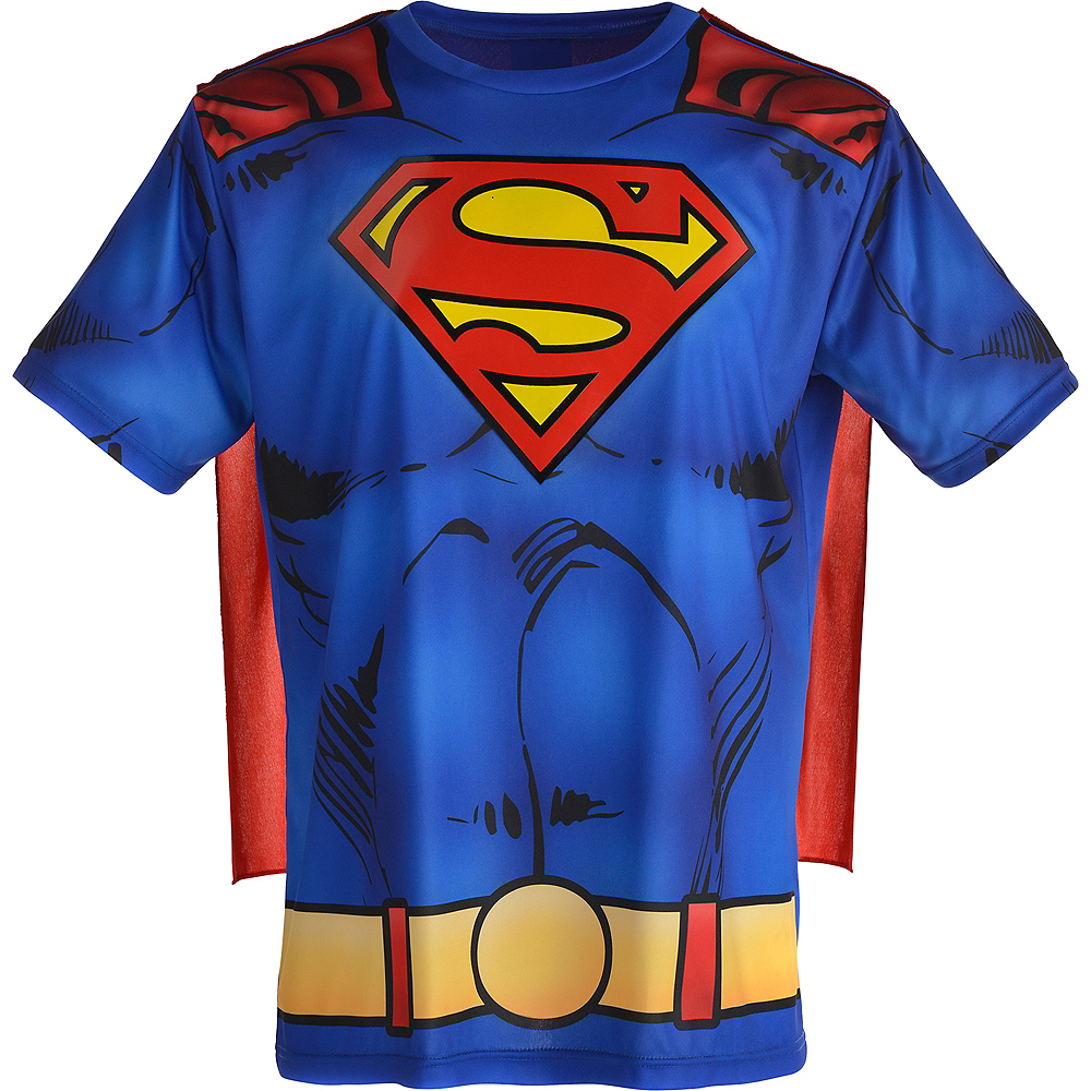 c703e513a Adult Superman T-Shirt with Cape | DC Comics Costumes | Party City