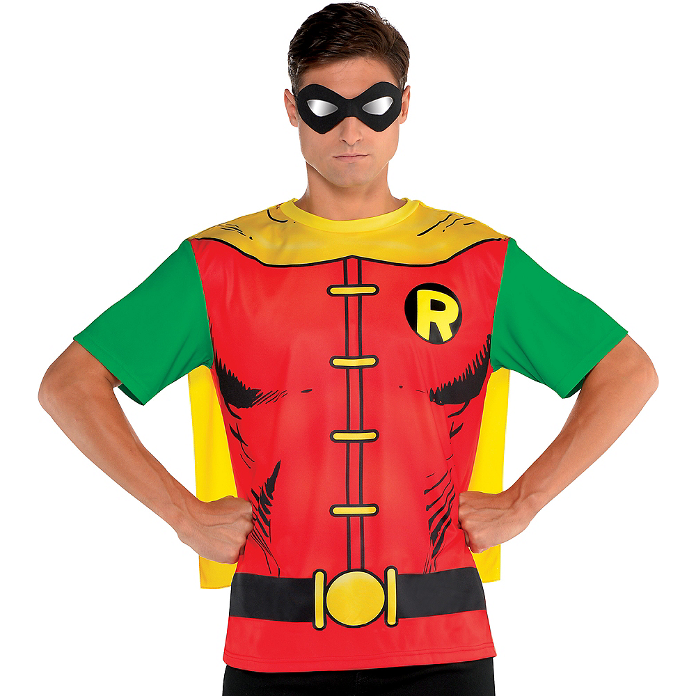 Nav Item for Adult Robin T-Shirt with Cape - Batman Image #1