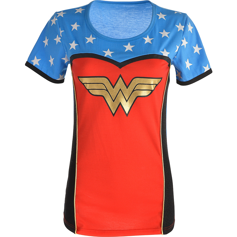 22e018cb7719 Adult Wonder Woman T-Shirt | DC Comics Costumes | Party City