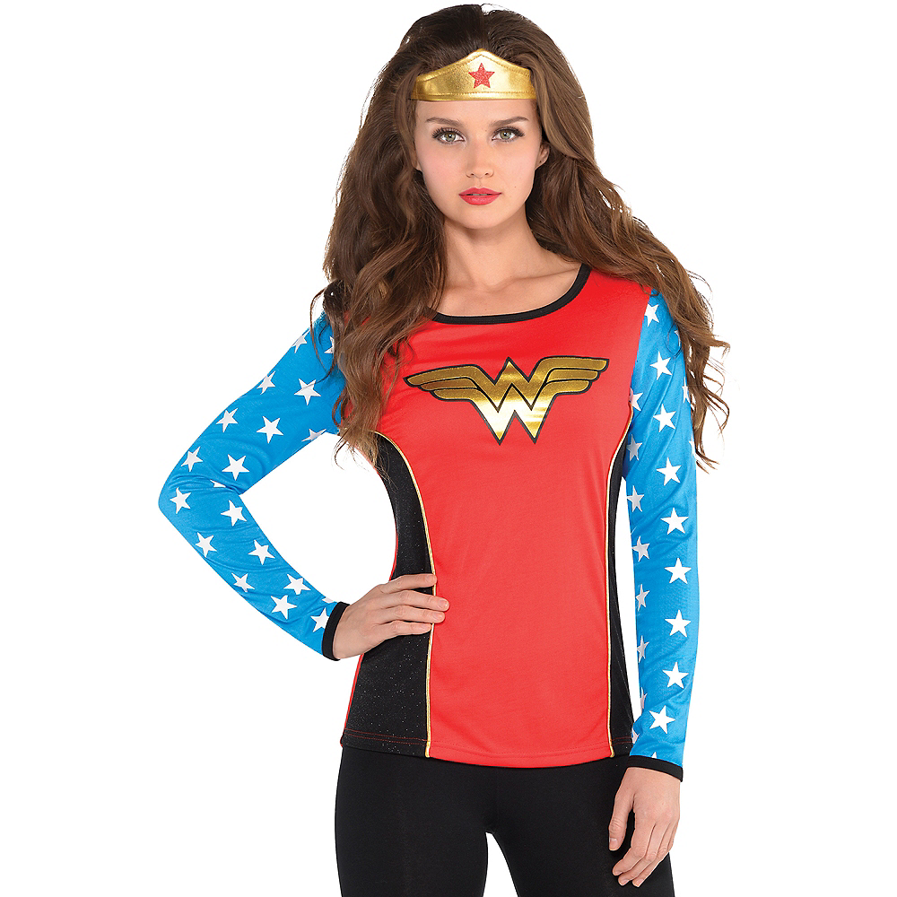 Adult Wonder Woman Long-Sleeve Shirt Image #1