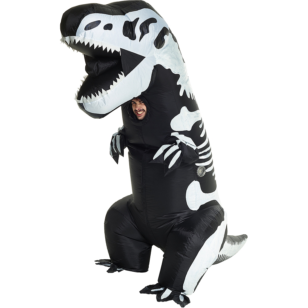 Adult Inflatable Skeleton T-Rex Dinosaur Costume Image #1