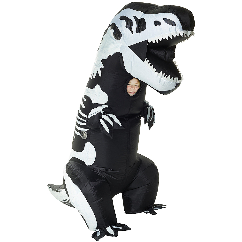 Child Inflatable Skeleton T-Rex Dinosaur Costume Image #1