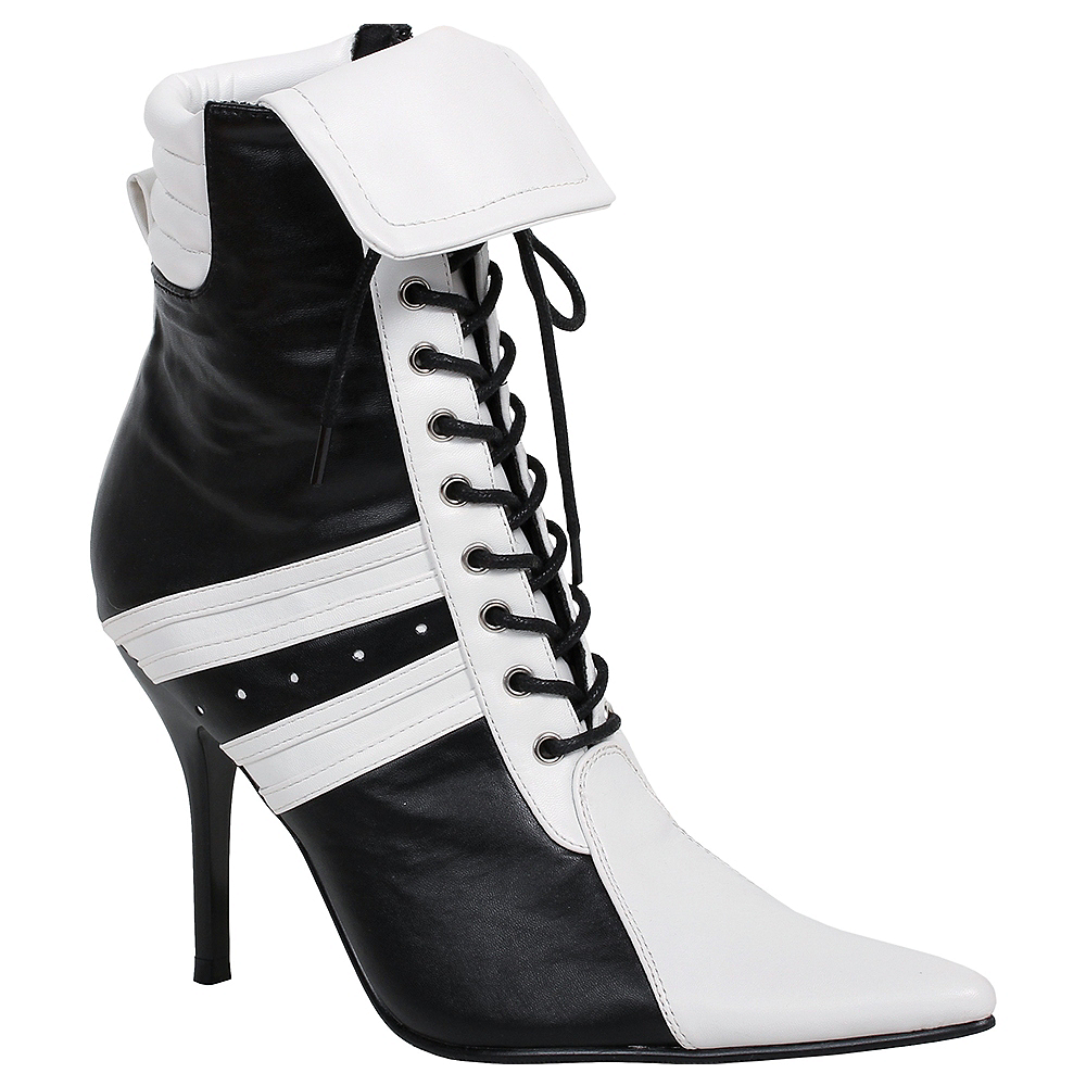 Adult Black & White High Heel Athletic Boots Image #1