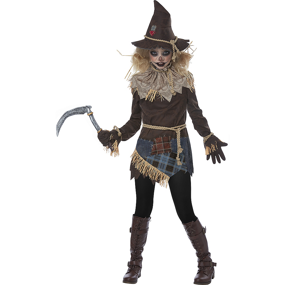 Nav Item for Girls Creepy Scarecrow Costume Image #1
