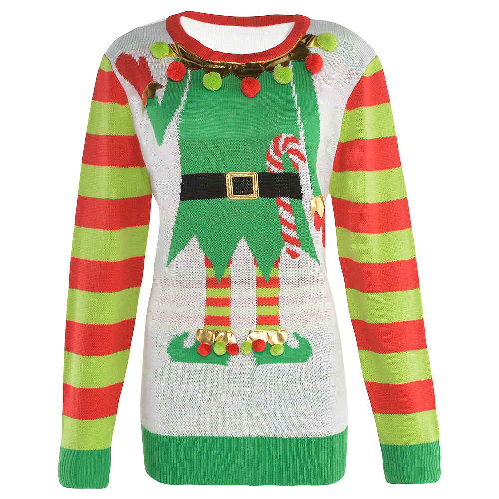 Ugly Christmas Sweaters.Adult Jolly Elf Ugly Christmas Sweater