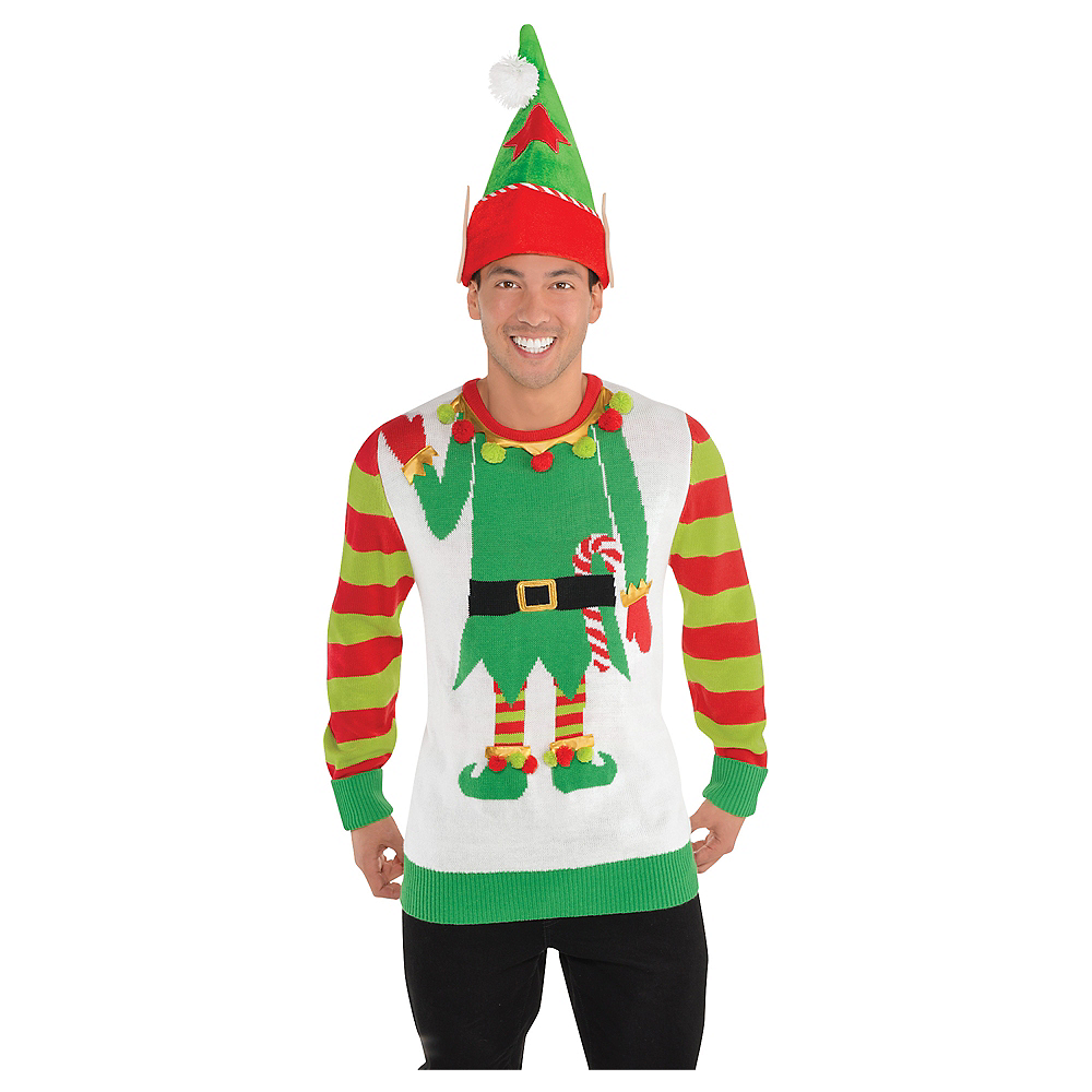 Adult Jolly Elf Ugly Christmas Sweater Image #2