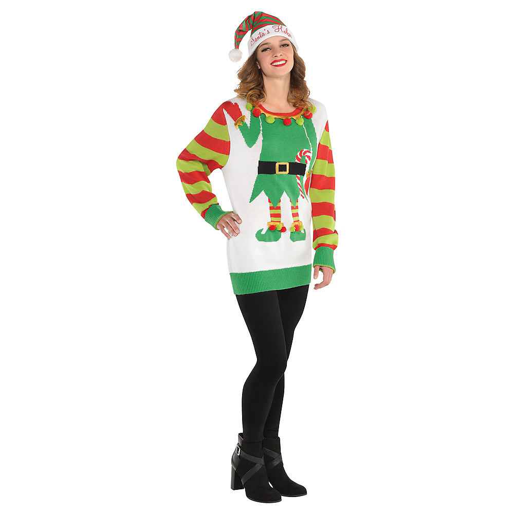 Adult Jolly Elf Ugly Christmas Sweater Image #3