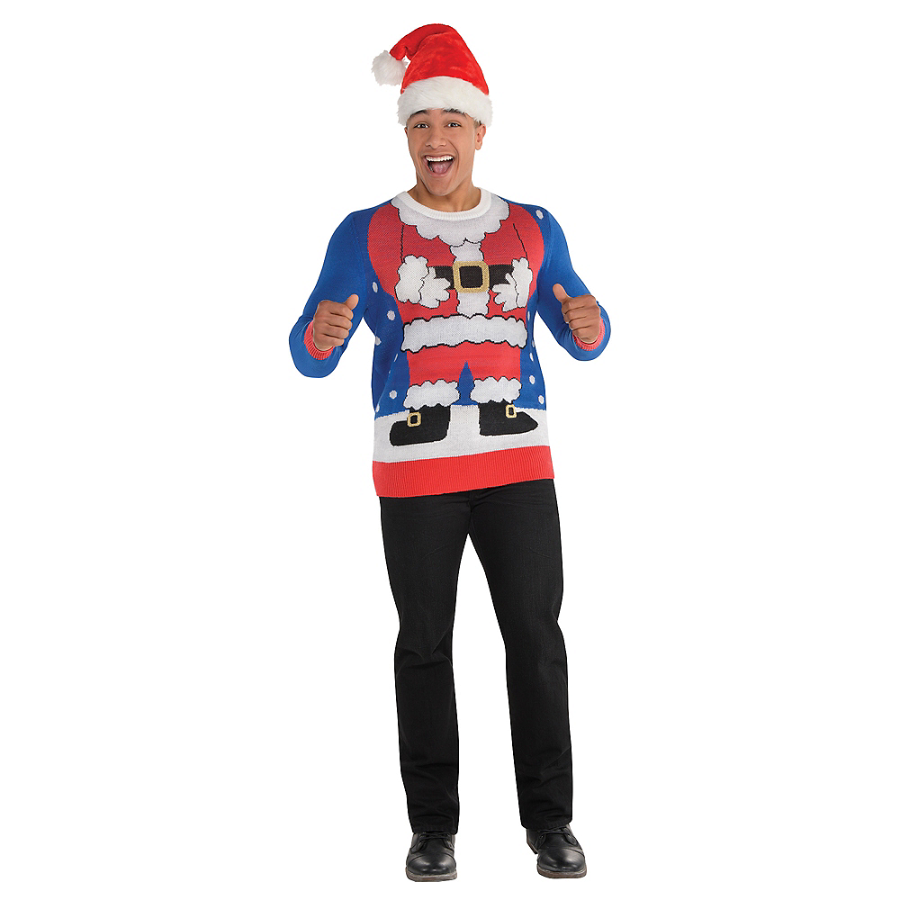 adult santa suit ugly christmas sweater image 2 - Christmas Sweater Suit