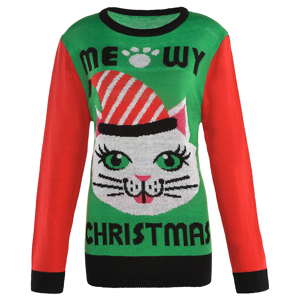 Ugly Christmas Sweaters.Adult Meowy Christmas Cat Ugly Christmas Sweater