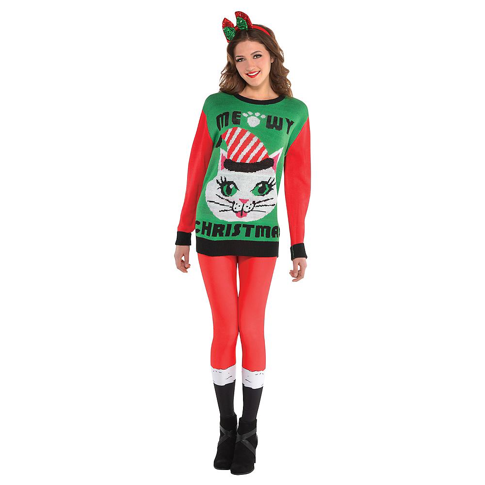 74b1689edf ... Adult Meowy Christmas Cat Ugly Christmas Sweater Image  2