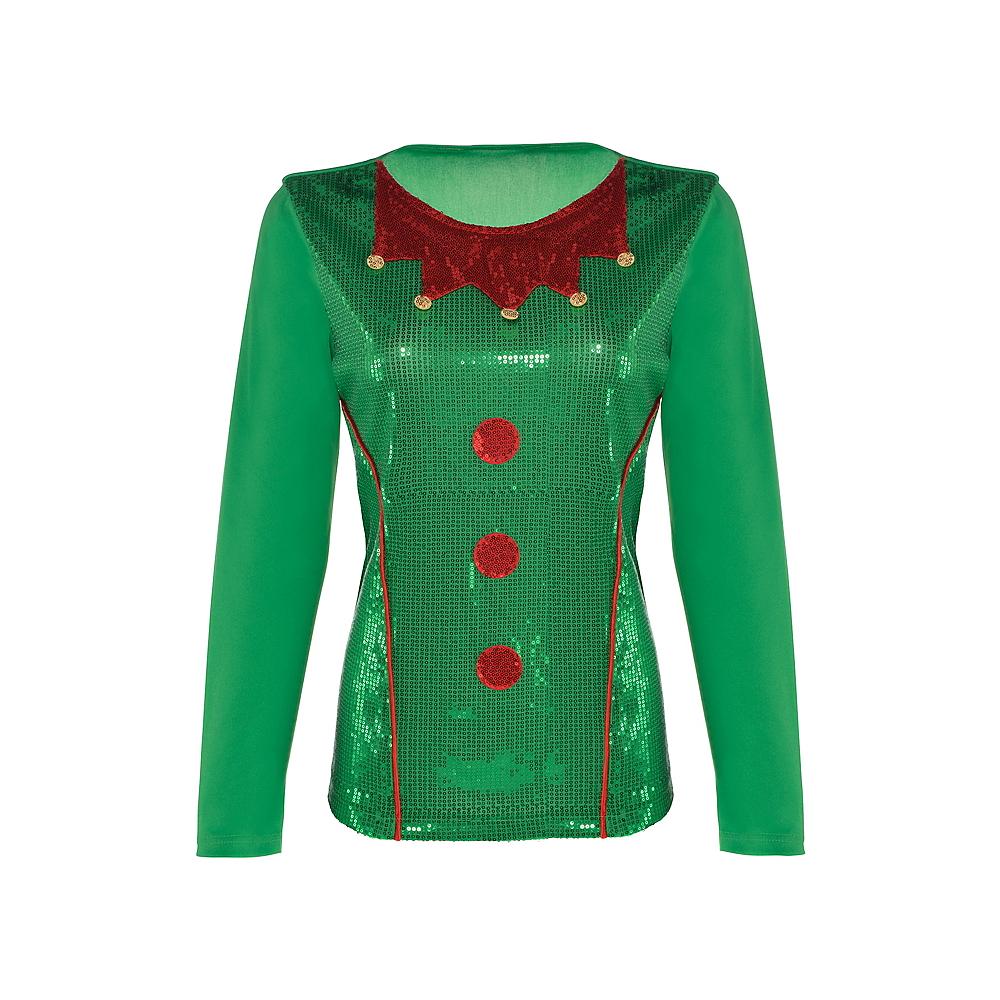 Adult Sequin Elf Long-Sleeve Shirt Image #2