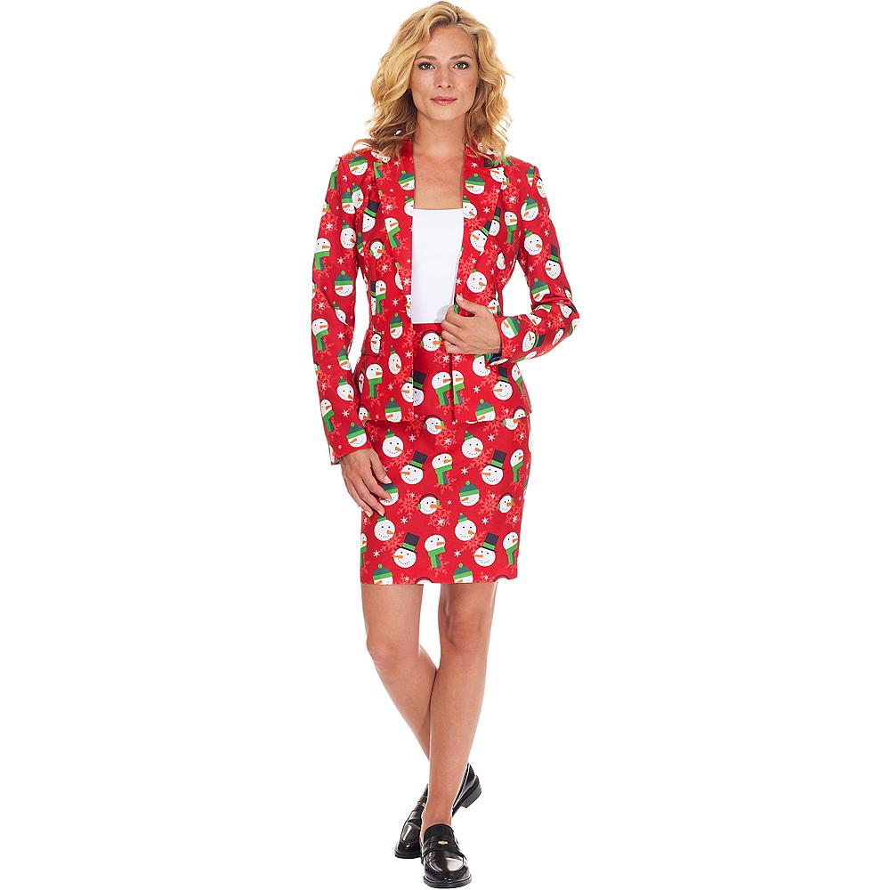 Adult Snowman Christmas Skirt Suit Image #1