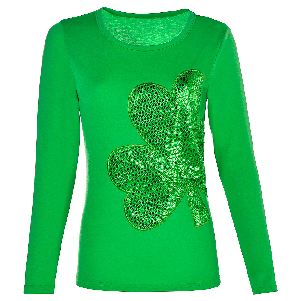 4b7388b2a Adult Sequin Shamrock Long-Sleeve Shirt Image #1 ...